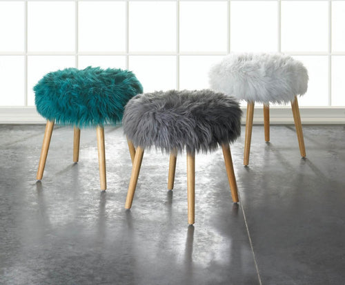 Faux Fur Accent Stool