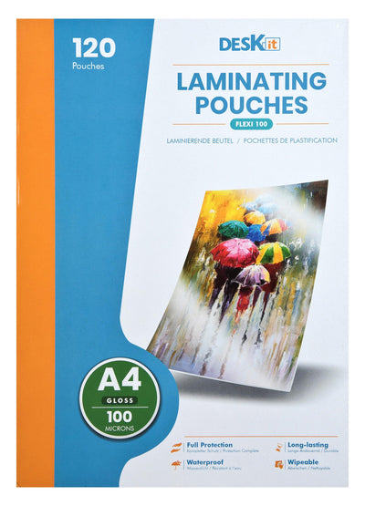 A4 LAMINATING POUCHES GLOSS 100 MICRONS | DESKIT