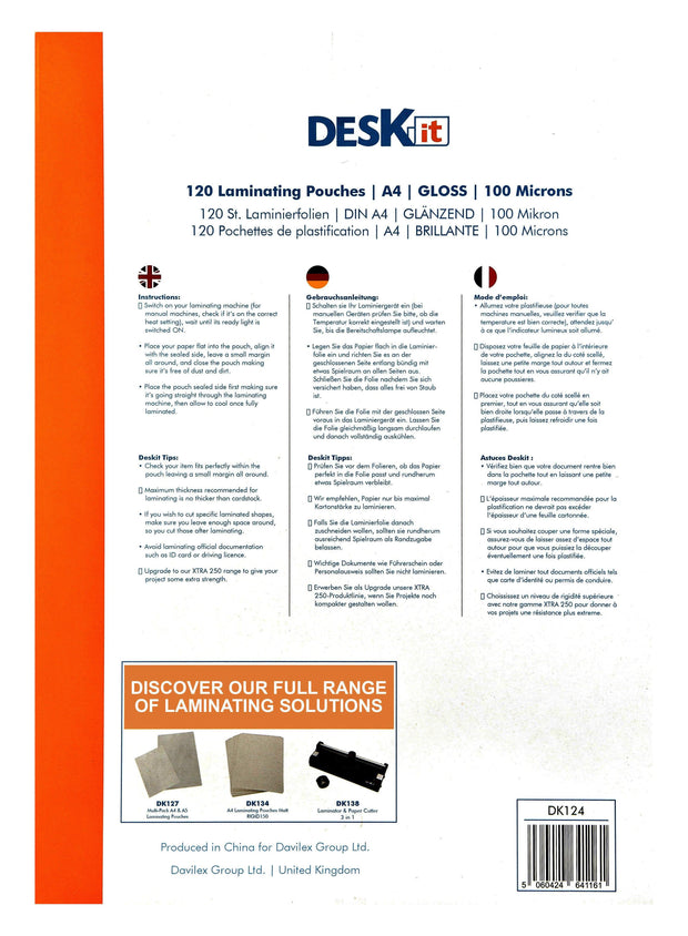 A4 LAMINATING POUCHES INSTRUCTIONS | DESKIT