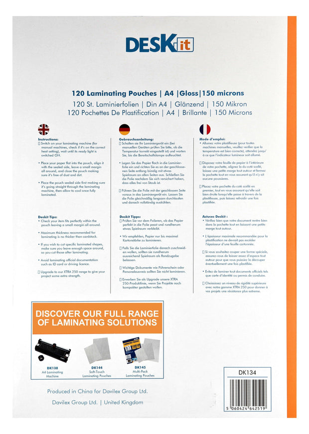 A4 LAMINATING POUCHES INSTRUCTIONS MULTI-LANGUAGE | DESKIT