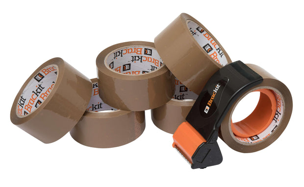 Brackit Brown Packing Tape with Compact Dispenser, 48mm x 66m, Pack of 6 Rolls - Deskit