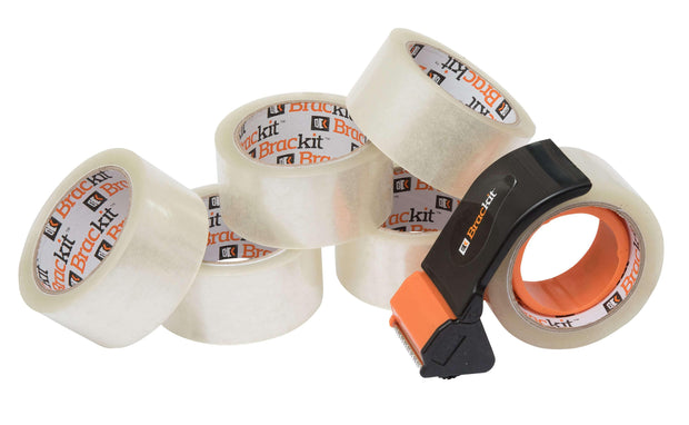 Clear Packing Tape with Compact Dispenser, 48mm x 66m, Pack of 6 Rolls - Deskit