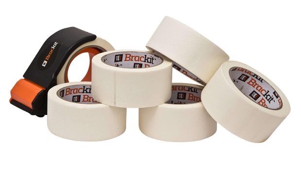 Brackit Masking Tape with Compact Dispenser, 48mm x 30M, Pack of 6 Rolls - Deskit