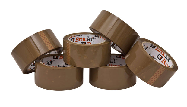 Brackit Brown Packaging Tape 48mm x 66m, Bulk Pack of 6 Rolls