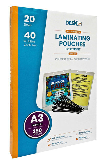 Poster Kit - A3 Laminating Pouches & In-line Ties (Gloss) Extra-strong - Deskit