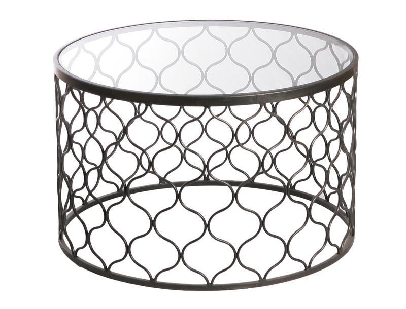Black Round Filigree Table Short