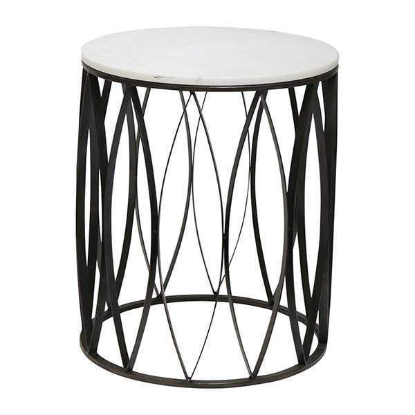 BLK LEAF TABLE W/ WHITE MARBLE TOP