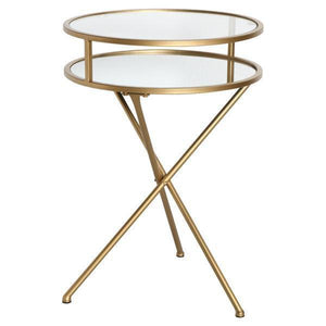GOLD/GLASS FOLDING TABLE WITH SHELF