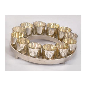 ANT SILVER ROUND C/HOLDER - 12 VOTIVES