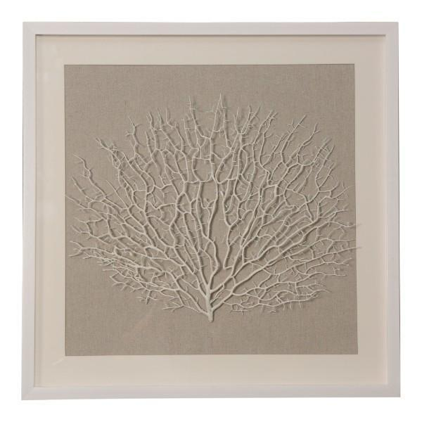 60CM WHITE CORAL FRAMED ART