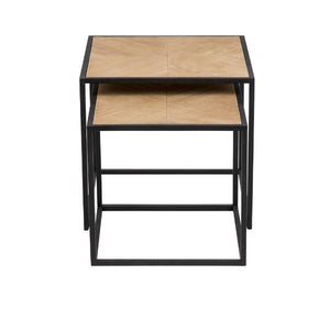 NESTED TIMBER SIDE TABLES S/2 W/ IRON B