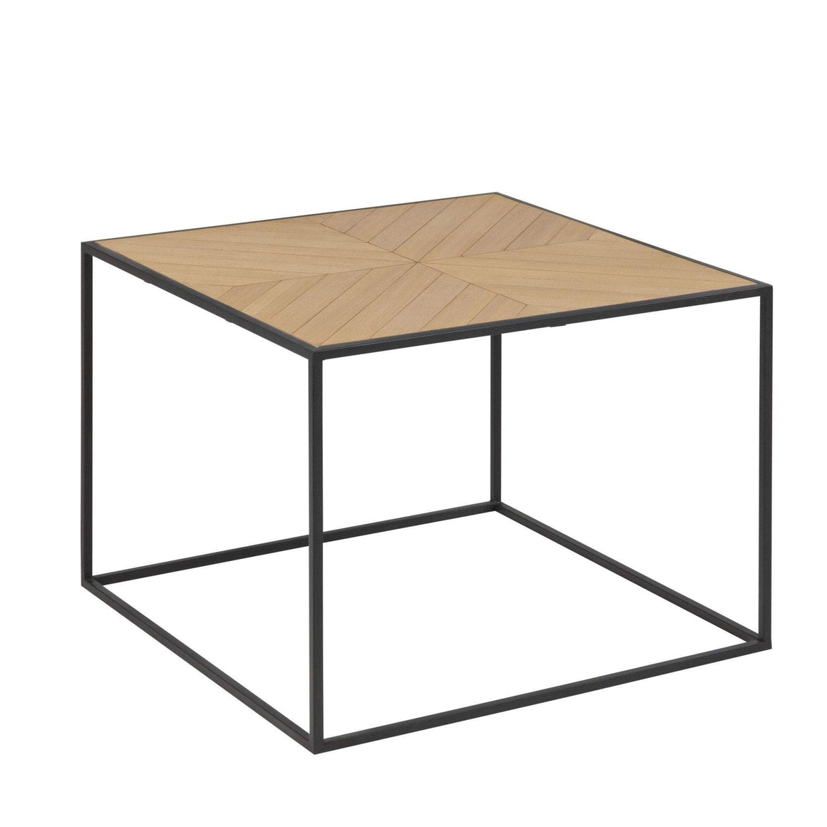 SQUARE TIMBER COFFEE TABLE W/ IRON BASE