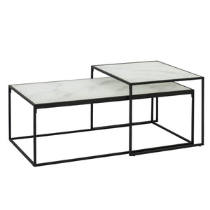 MARBLE PRINT NESTED TABLE SET 2