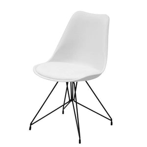 SOHO CHAIR WHITE W/ PU SEAT BLK LEGS