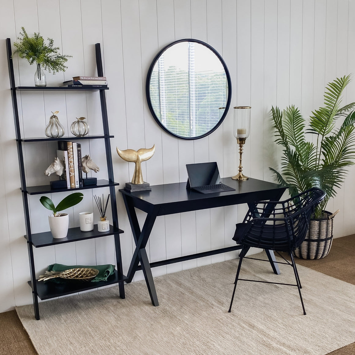 Brooklyn Black Desk with Drawer