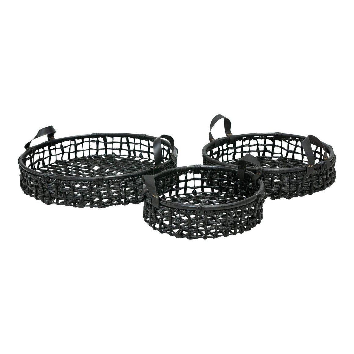 SET 3 ROUND TRAYS LEATHER HANDLE BLACK
