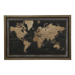 MAP OF WORLD BLACK WITH BORDER - LEDS