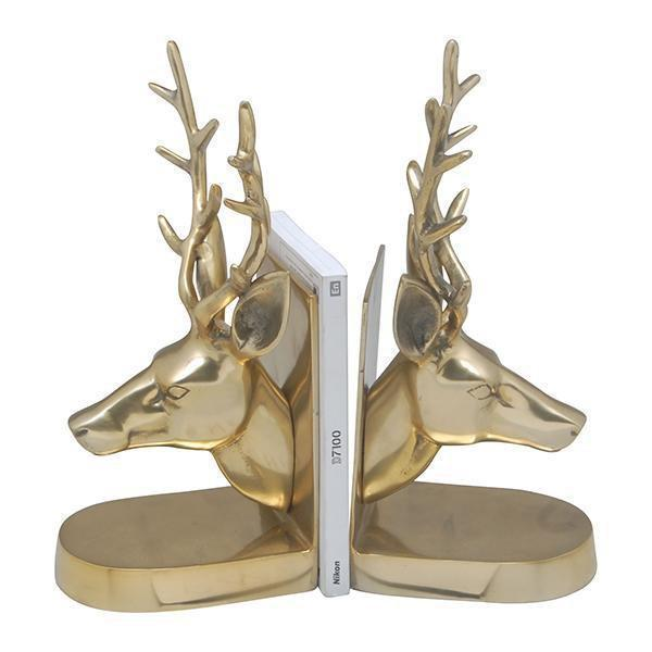 BRASS DEER HEAD BOOKENDS