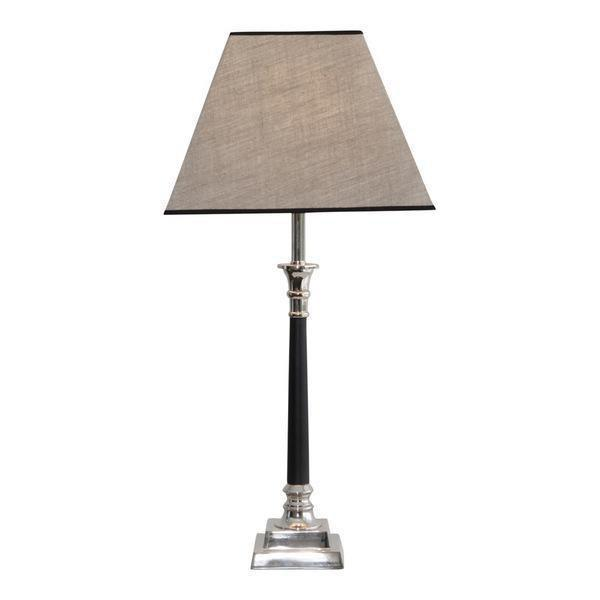 NICKEL AND BLACK LEATHER LAMP BASE