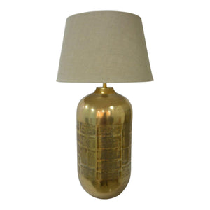 Shiny Brass Barrel Lamp W/Nat Shade