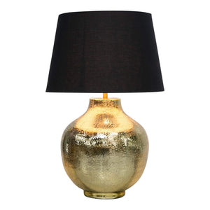 ETCHED BRASS ROUND LAMP W/ BLK SHADE