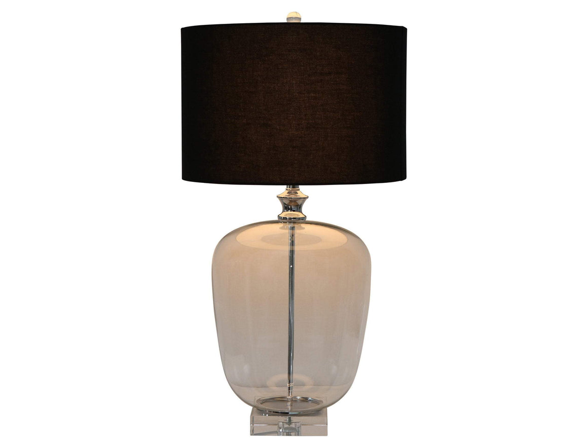 CRYSTAL BASE GLASS LAMP W/ BLACK SHADE