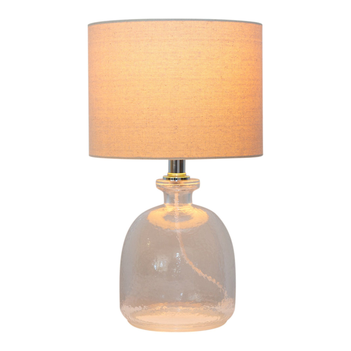 ROUND GLASS LAMP W/ NATURAL SHADE MIN 2