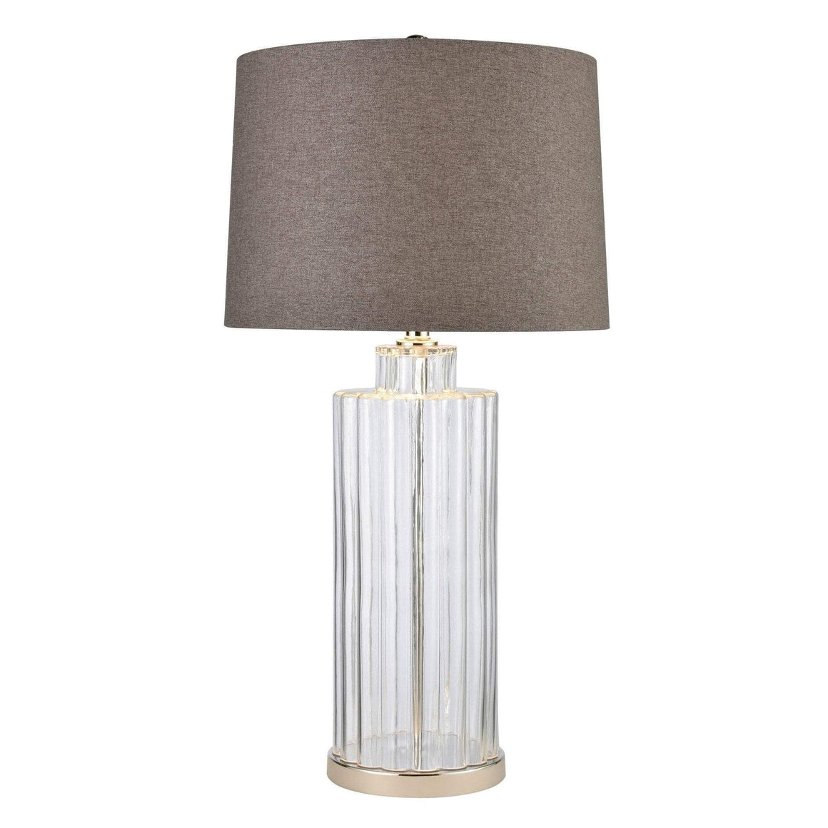 JAMISON GLASS TABLE LAMP W/ BEIGE SHADE