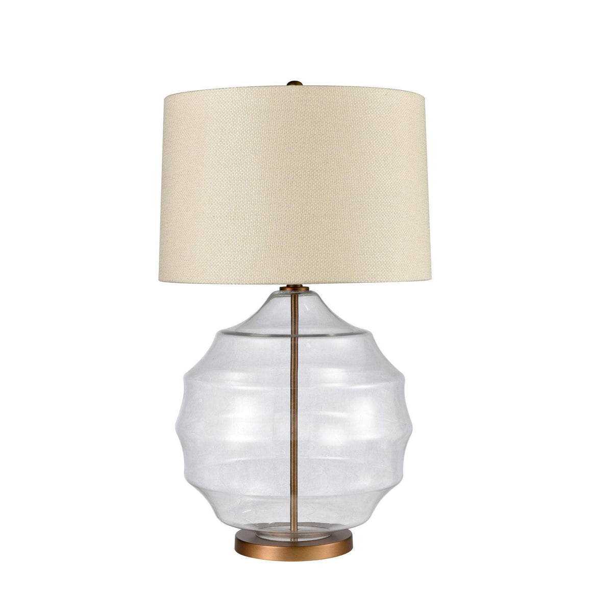 VICTORIA GLASS LAMP W/ IVORY SHADE