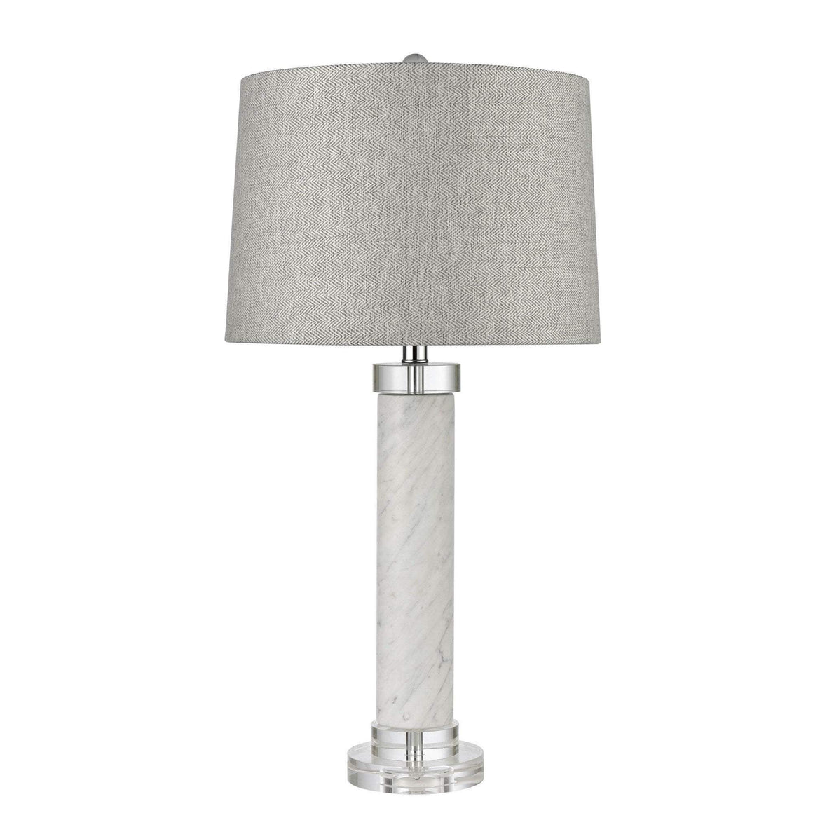 ITALY WHITE MARBLE TABLE LAMP W/ SHADE