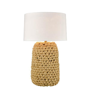 LGE KNOTTED ROPE TABLE LAMP W/ SHADE