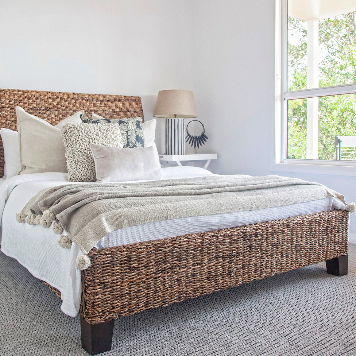 BANANA LEAF QUEEN BED W/ FRAME