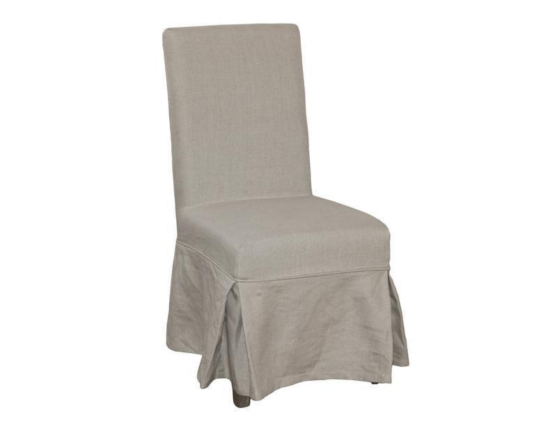 BEIGE LINEN DINING CHAIR LOOSE COVER
