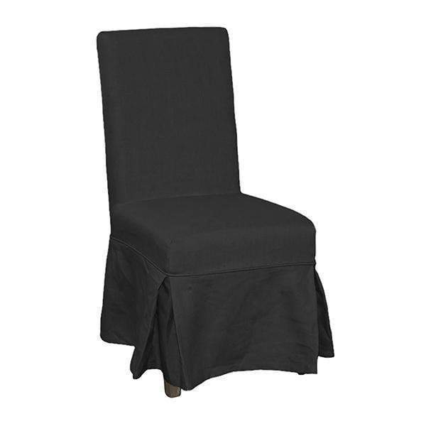 CHARCOAL LINEN DINING CHAIR SHORT COVER
