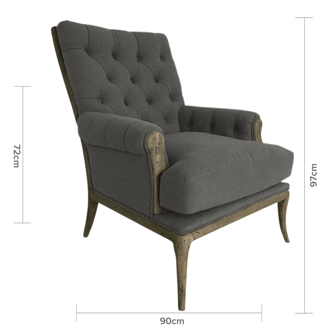 STORM GREY LINEN ARMCHAIR WITH OAK LEGS