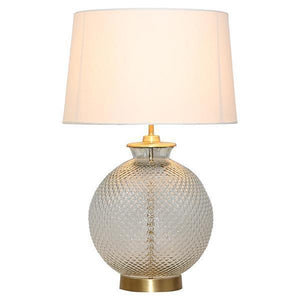 PATTERNED GLASS & BRASS LAMP W/ SHADE