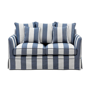 Noosa 2 Seat Sofa Cover Denim Cream Stripe