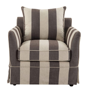 NOOSA ARMCHAIR COVER GREY/CREAM STRIPE