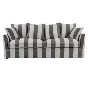 Noosa 3 Seat Sofa Cover Grey/Cream Stripe