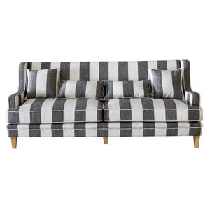 BONDI GREY & CREAM STRIPE 3 SEAT SOFA