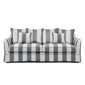 NOOSA DENIM & CREAM STRIPE 3 SEATER SOFA