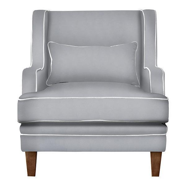 GREY ARMCHAIR W/ WHITE PIPING