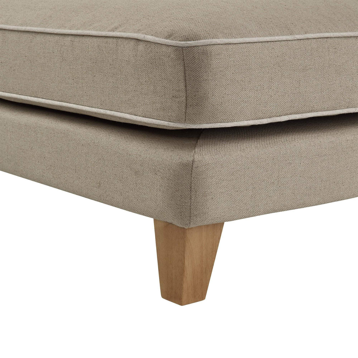 Bondi Ottoman Nat W/ White Piping