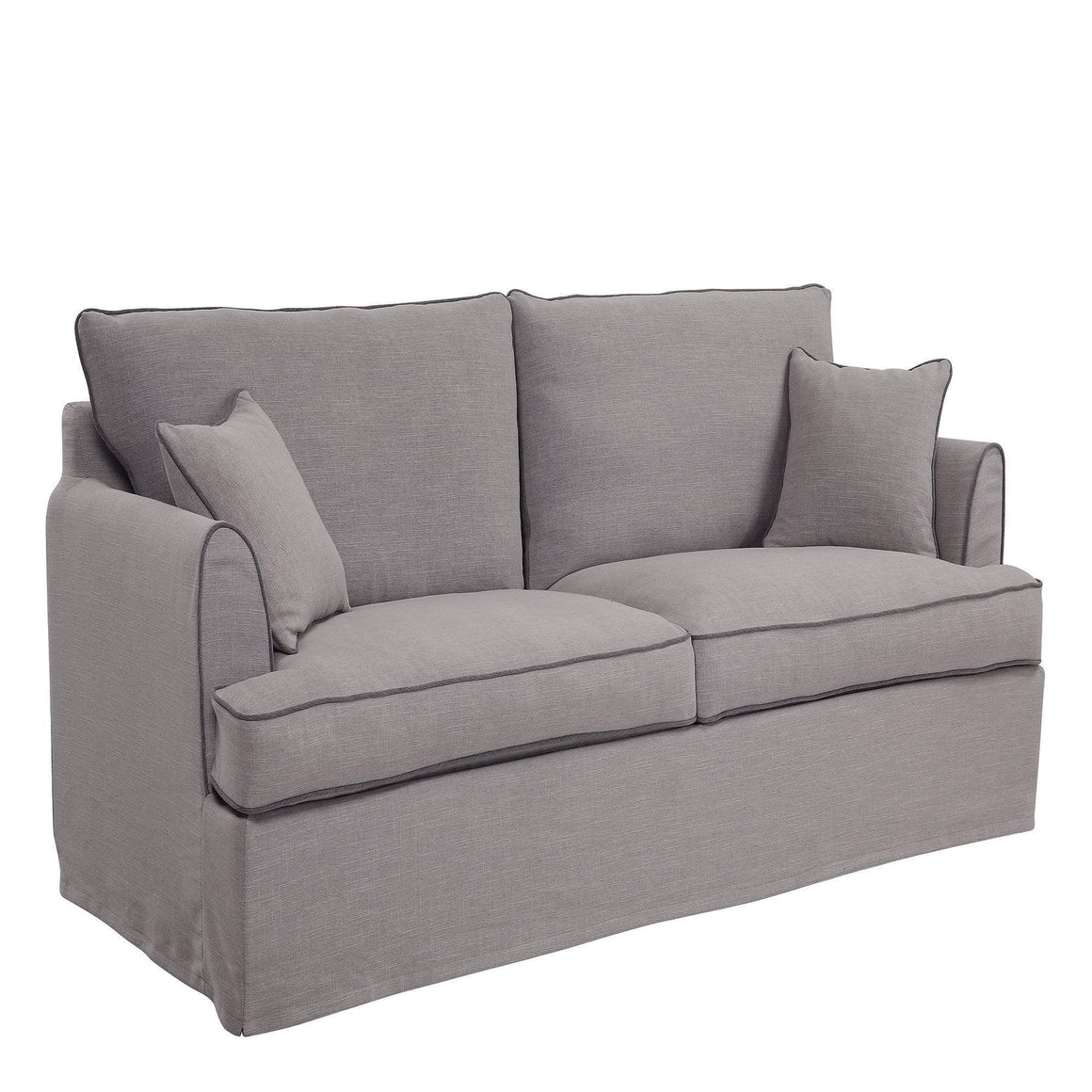 Byron Pebble Grey 3 Seat Sofa With Piping