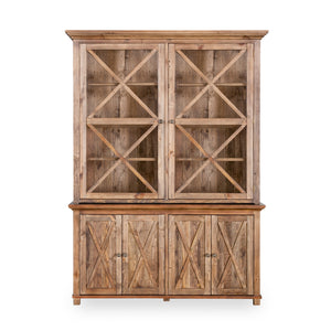 Sorrento Nat Tall Glass Door Cabinet