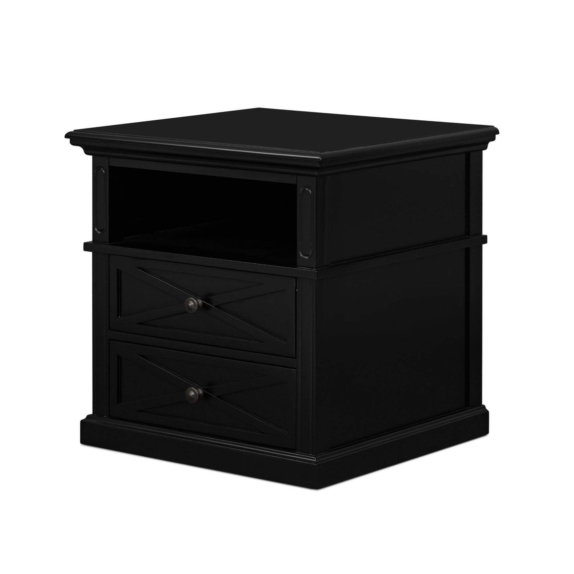 SORRENTO BLK LARGE 2 DRAW BEDSIDE TABLE