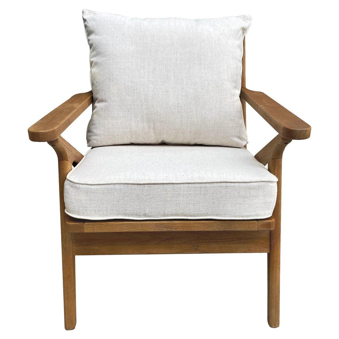 ASH WOOD CHAIR W/NATURAL CREAM CUSHIONS