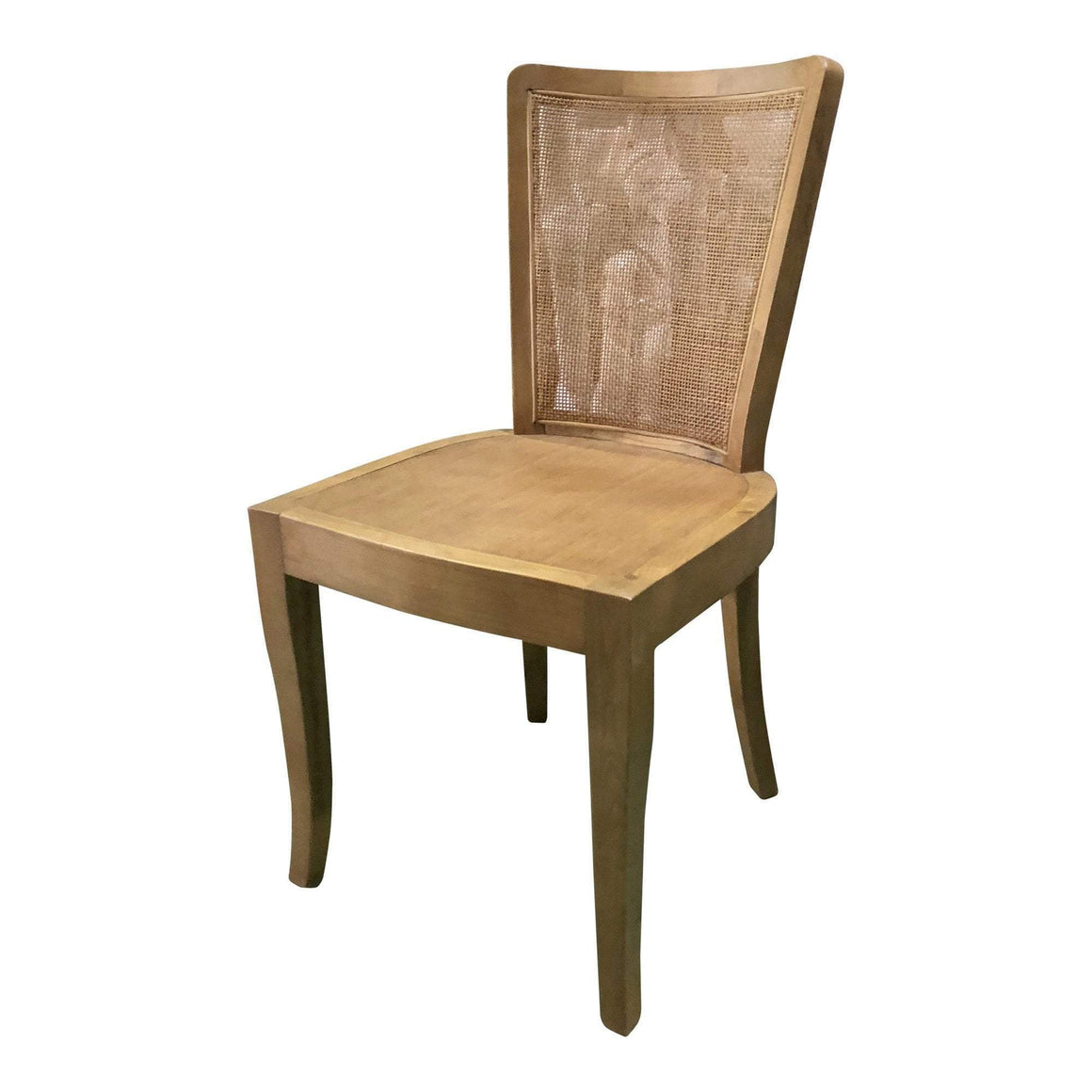 CURVED RATTAN BACK DINING CHAIR