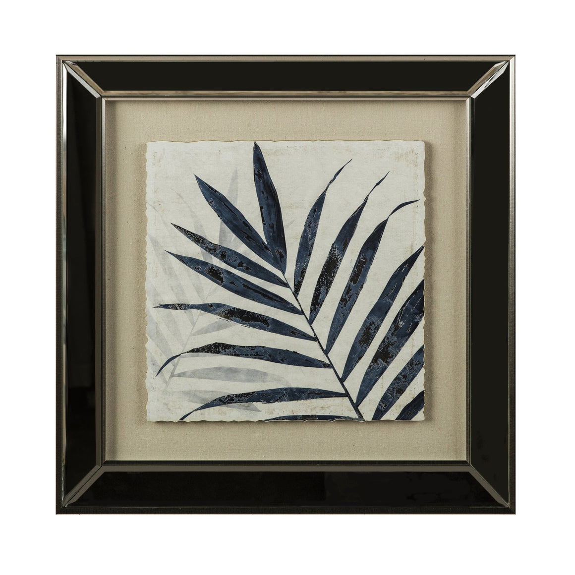 Bahamas Blue Palm Prints In Mirrored Frame Set Of Two