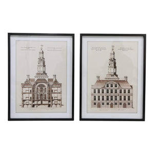 SET 2 ANTIQUE BUILDINGS BLACK FRAMES